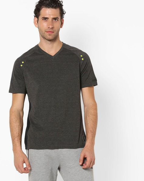 V-neck T-shirt With Raglan Sleeves By PERFORMAX ( Charcoal )