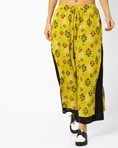 Palazzos With Drawstring Fastening By Rangmanch By Pantaloons ( Green )