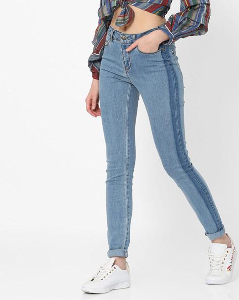 Washed Slim Fit Jeans By Vero Moda ( Fuschiablue )