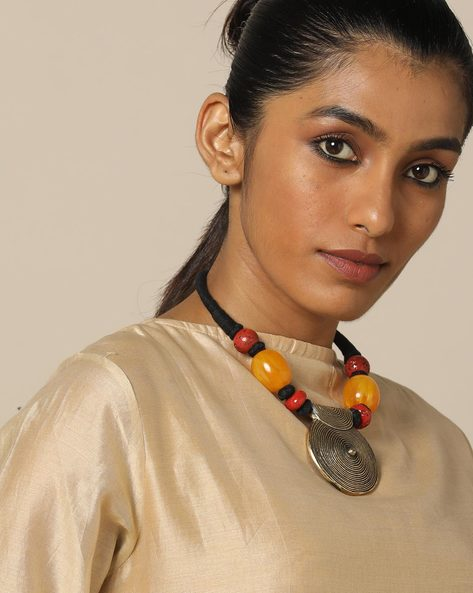 Glass Bead Short Necklace With Pendant By IMLI STREET ( Black )