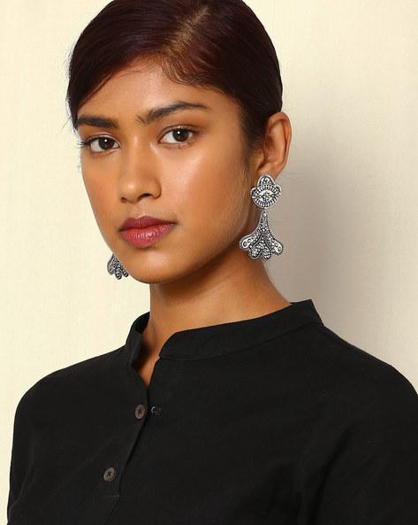Statement Oxidised Drop-Earrings By Indie Picks ( Silver )