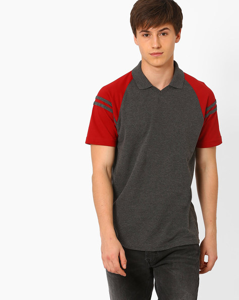 Cut & Sew Slim T-shirt With Raglan Sleeves By AJIO ( Charcoal )