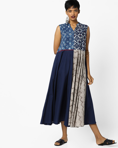 Bagru Print Fit & Flare Dress By PE IW Fusion ( Navy )