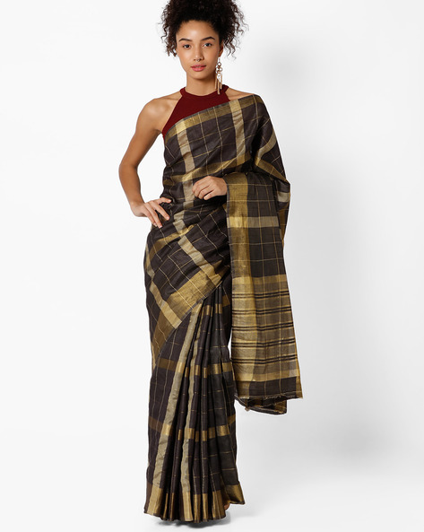 Checked Tussar Silk Saree By Amori ( Black )