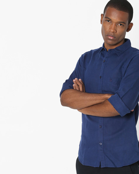 Slub Shirt With Patch Pocket By UNITED COLORS OF BENETTON ( Navyblue )