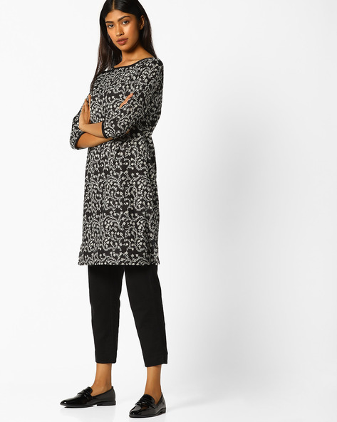 Printed Tunic With Side Slits By AJIO ( Black )