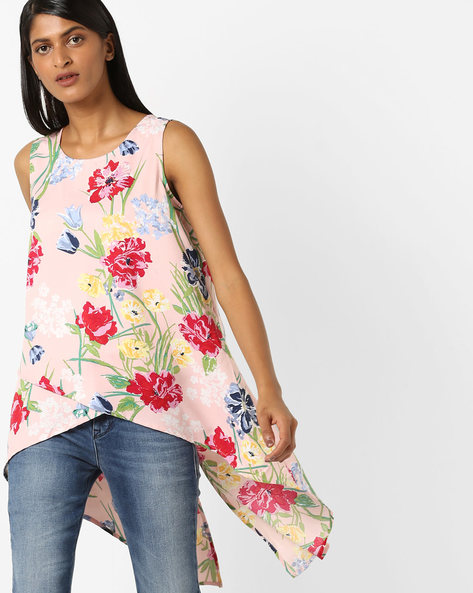 Floral Print Sleeveless Tunic By FIG ( Ltpeach )