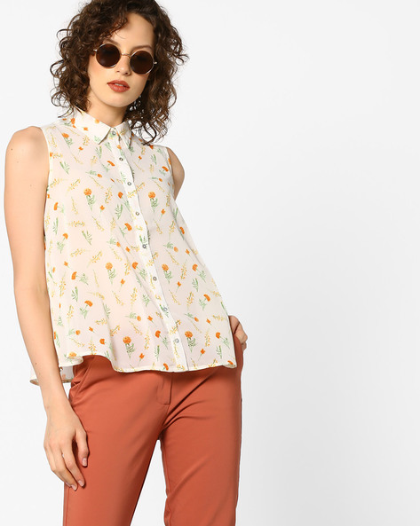 Floral Print Sleeveless Shirt By PE WW Work ( Offwhite )