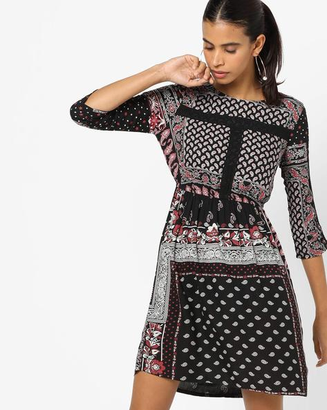 All-Over Print Blouson Dress By Oxolloxo ( Black )