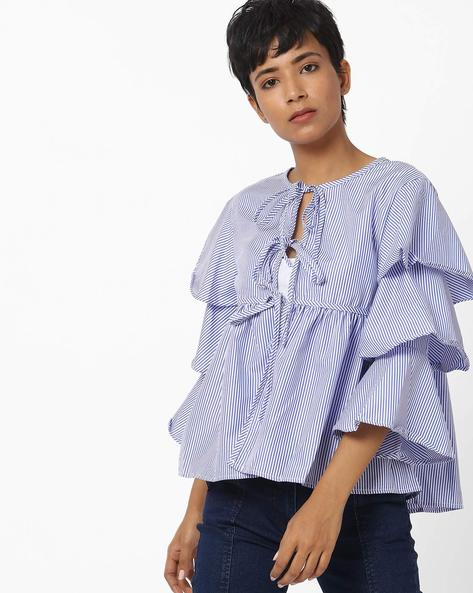 Striped Top With Layered Sleeves By Ginger By Lifestyle ( Blue )