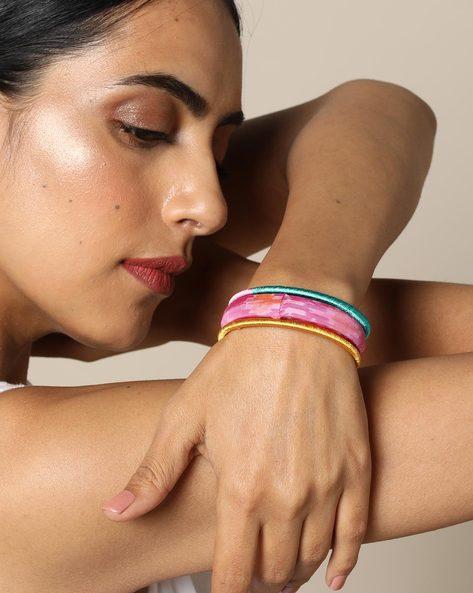Set Of 3 Handloom Ikat Silk And Silk Thread Bangles By PADMAHASTHA ( Pink )