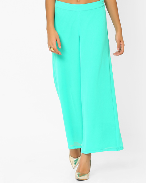 Solid Palazzo Pants By AJIO ( Teal )