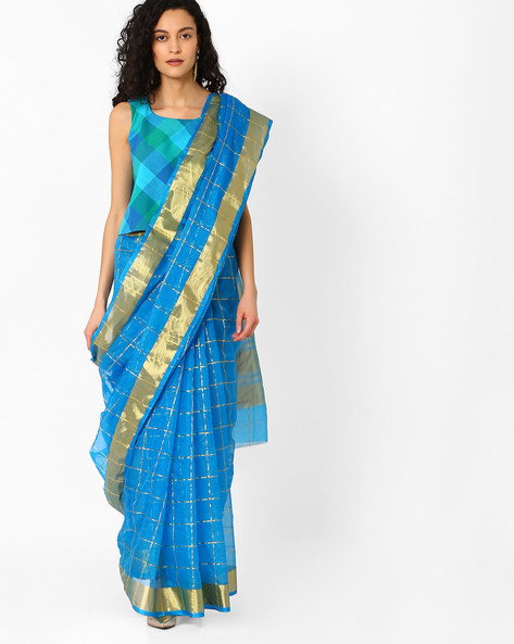 Checked Saree With Contrast Border By Pihu ( Blue )