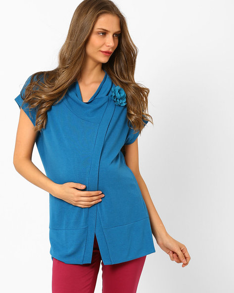 Maternity Shrug With Brooch By AJIO ( Blue )