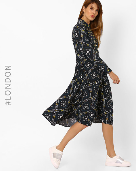 Printed Dress With Shirt Collar By Closet London ( Multi )