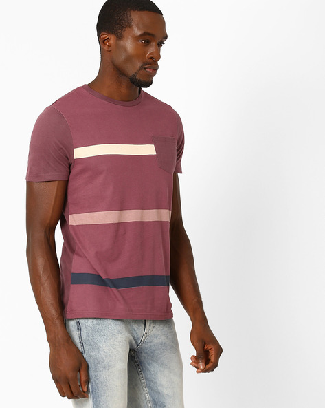 Crew-Neck T-shirt With Patch Pocket By AJIO ( Wine )