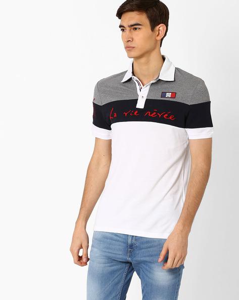Colourblock Slim Fit Polo T-shirt By Celio ( Offwhite )