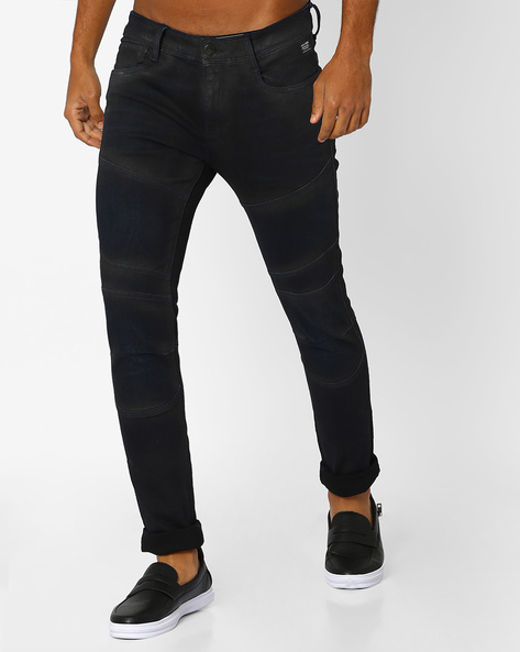 Skinny Jeans With Panel Detail By Jack & Jones ( Dkblue )