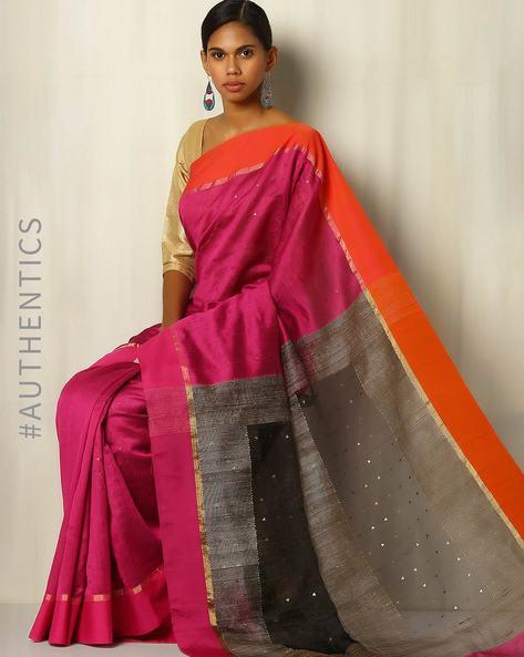 Handwoven Bengal Pure Silk Cotton Saree By Indie Picks ( Purple )