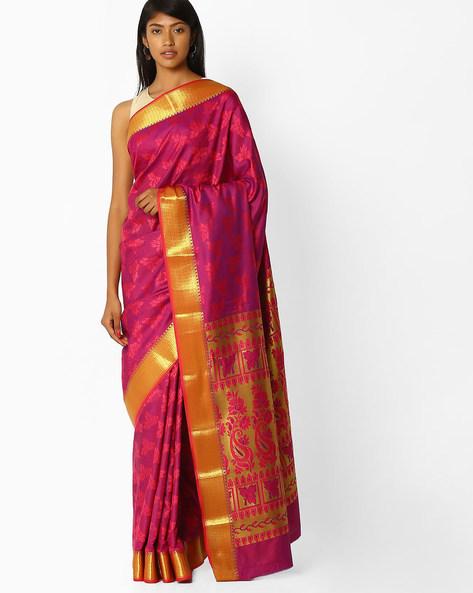 Printed Saree With Contrast Zari Border By SHRIKALA ( Magenta )