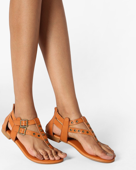 Flat Sandals With Embellishments By Truffle Collection ( Tan )