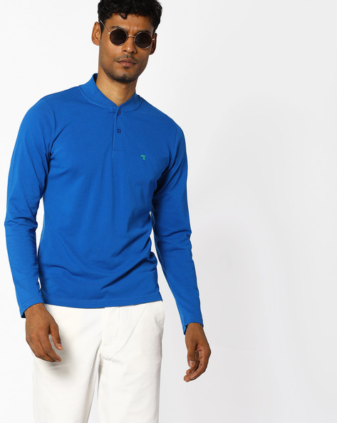 Cotton T-shirt With Ribbed Collar By The Indian Garage Co ( Blue )