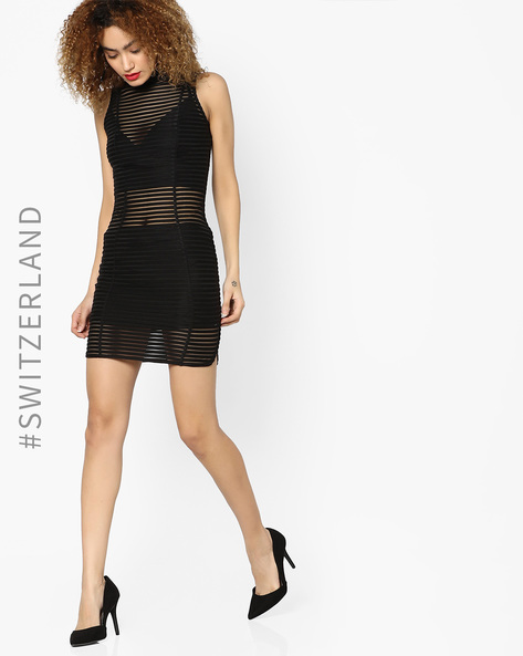 Striped-Mesh Bodycon Dress By TALLY WEiJL ( Black )