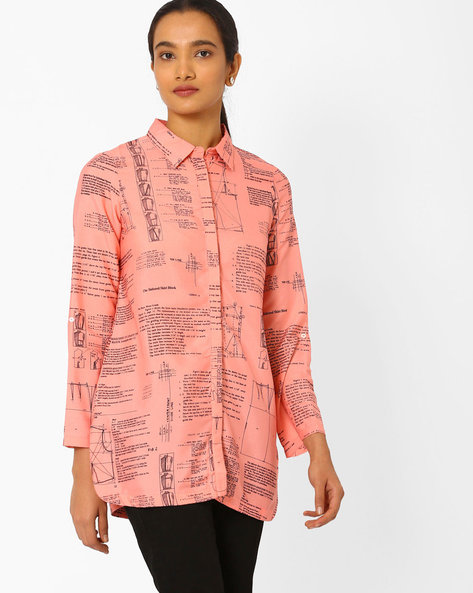 Printed Shirt Tunic By W ( Pink )