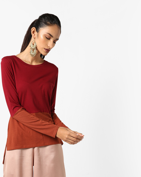 Cut & Sew Cotton Knit Top By AJIO ( Red )