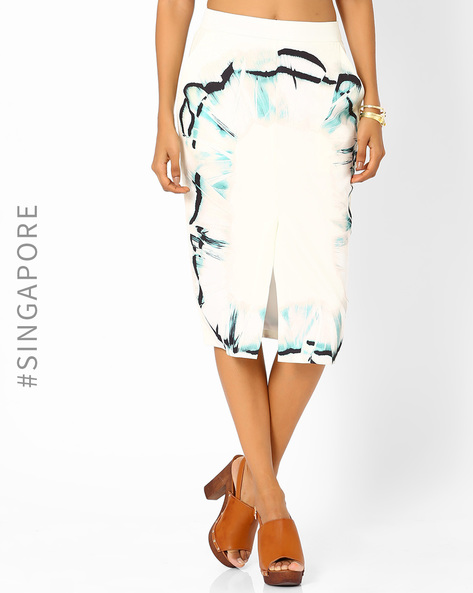 Printed Midi Skirt By MDS ( Multi )