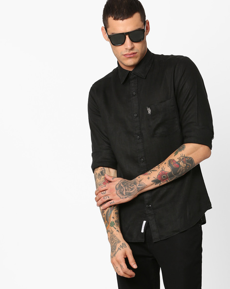 Linen Shirt With Patch Pocket By US POLO ( Black )