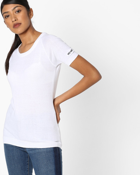 Crew-Neck Knitted Top With Raglan Sleeves By Teamspirit ( White )