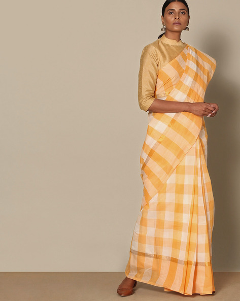 South Cotton Checked Saree With Zari Border By Indie Picks ( Yellow ) - 460135013001