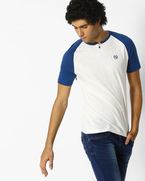 Colourblock Henley T-shirt With Raglan Sleeves By Teamspirit ( Offwhite )