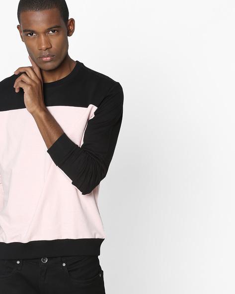 Colourblock Crew-Neck Sweatshirt By DEEZENO ( Pink )