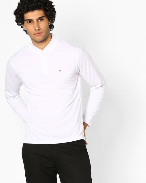 Cotton T-shirt With Ribbed Collar By The Indian Garage Co ( White )