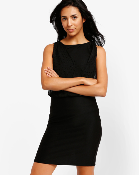 Bodycon Dress With Sheer Overlay By The Vanca ( Black )