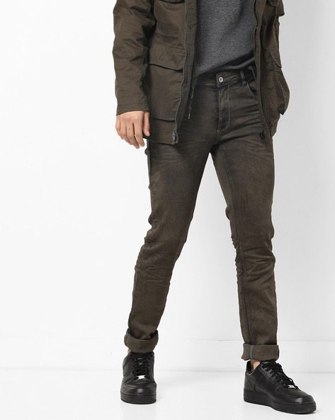 Slim Fit 5-Pocket Jeans By RexStraut JEANS ( Olive )