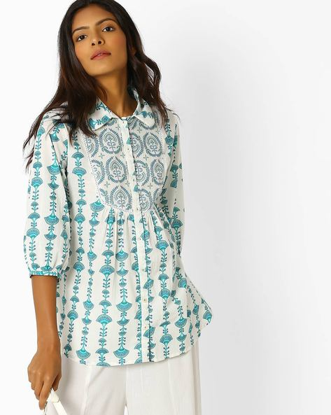 Printed Tunic With Button Placket By Omya ( Blue )