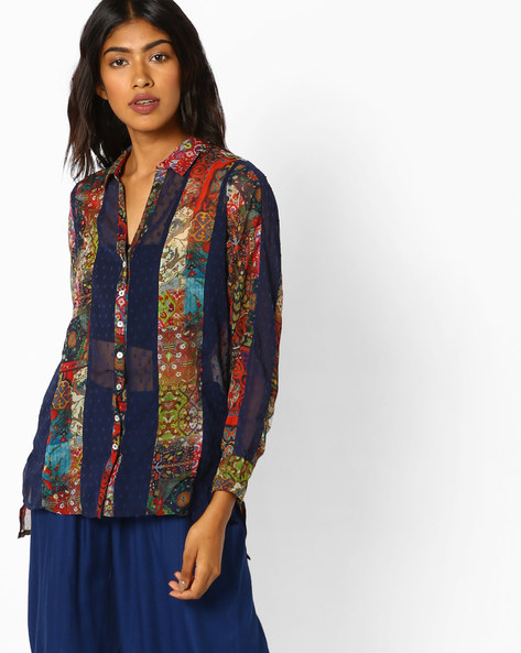 Printed Shirt With High-Low Hemline By COLOUR ME ( Multi )