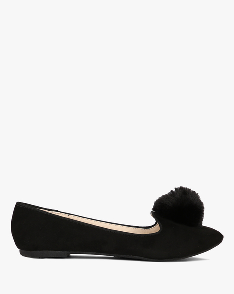 Suede Ballerinas With Fur By Truffle Collection ( Black )