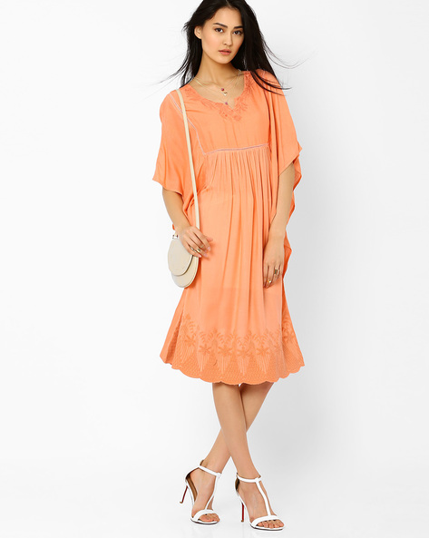 Midi Dress With Butterfly Sleeves By AJIO ( Peach )