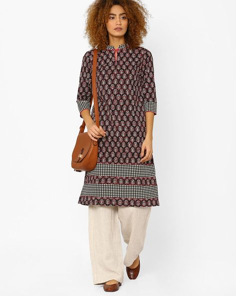Printed Straight Kurta With Mandarin Collar By AJIO ( Black )