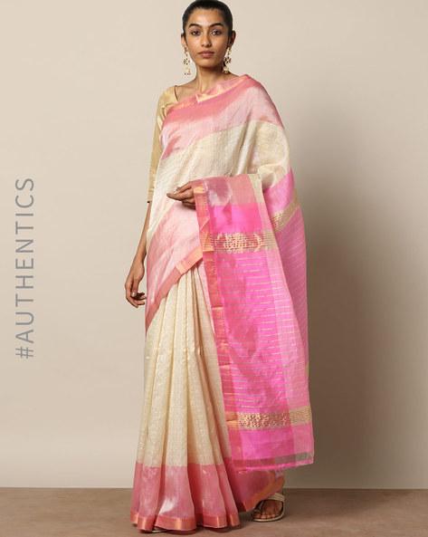Handloom Mangalgiri Checked Cotton Silk Saree By Indie Picks ( Yellow ) - 460171390001