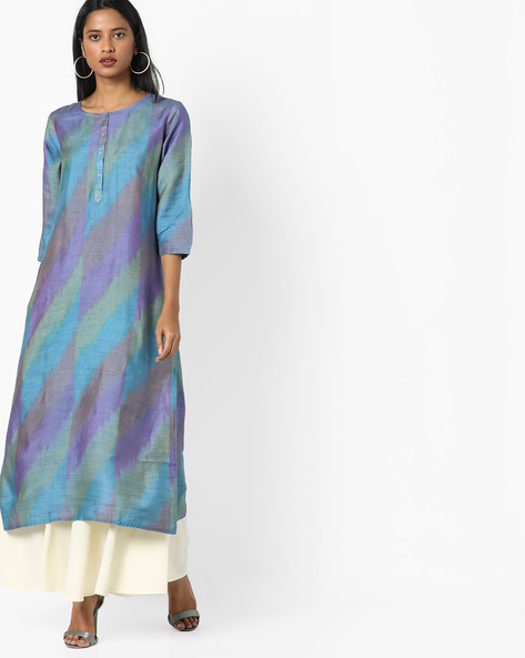Straight Kurta With Insert Pocket By Project Eve IW Evening ( Blue )