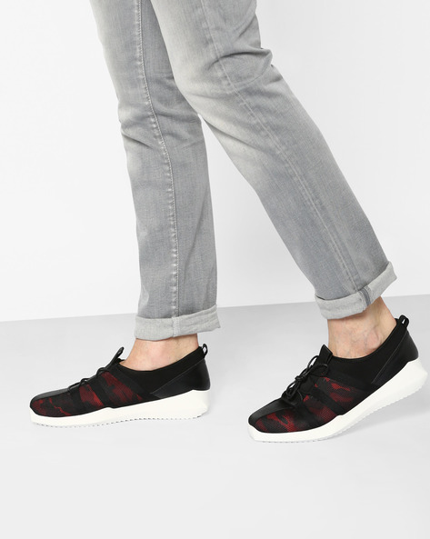 Printed Lace-Up Sneakers By AJIO ( Black )