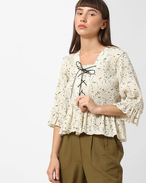 Printed Peplum Top With Tie-Up Neckline By Ginger By Lifestyle ( Green )