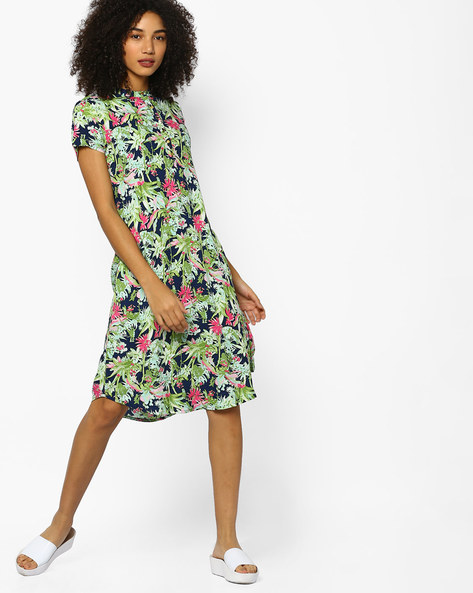 Tropical Print Shift Dress By PE WW Casual ( Green )