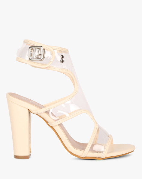 High Ankle Heeled Sandals By MFT Couture ( Nude )