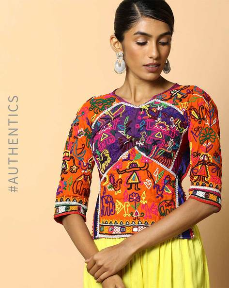 Kutch Embroidered Backless Blouse By Indie Picks ( Multi ) - 460103672001